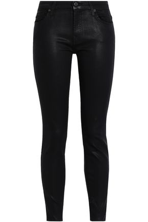 7 FOR ALL MANKIND Coated mid-rise slim-leg jeans