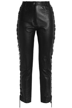 MAGDA BUTRYM Lace-up leather slim-leg pants