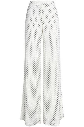 ALEXIS Polka-dot satin-crepe wide-leg pants