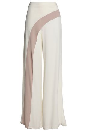 ALEXIS Two-tone crepe wide-leg pants