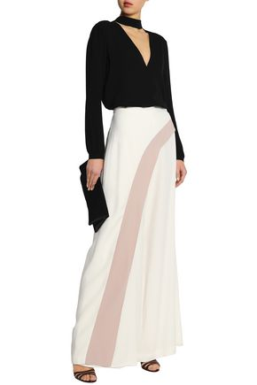 ALEXIS Angelica two-tone crepe wide-leg pants
