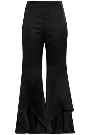 ALEXIS Satin-crepe flared pants