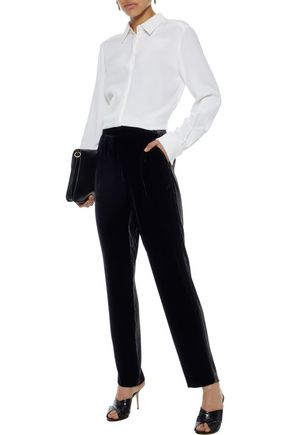 VINCE. Pleated velvet straight-leg pants