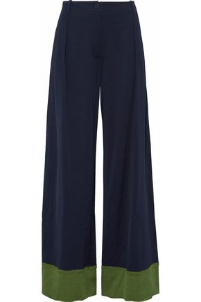 TOMAS MAIER Two-tone jersey wide-leg pants