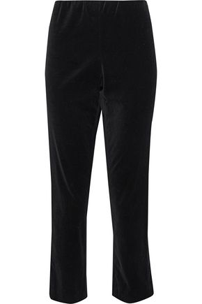 VINCE. Cropped velvet straight-leg pants