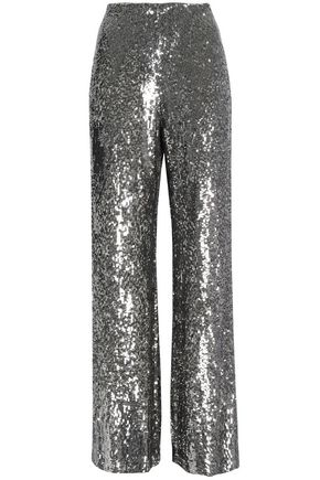 ALEXIS Sequined silk wide-leg pants