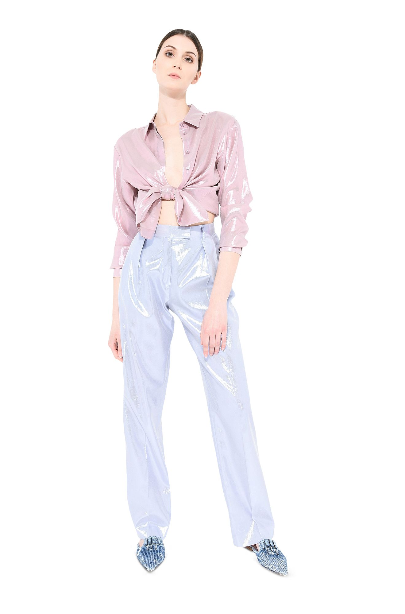 Light blue lamé trousers