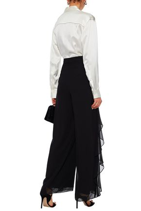BADGLEY MISCHKA Chiffon-layered crepe de chine wide-leg pants
