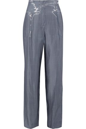 GIORGIO ARMANI Printed coated-crepe straight-leg pants