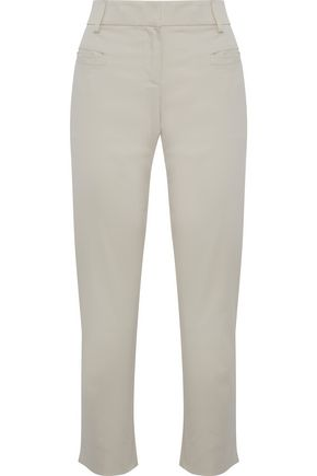 GIORGIO ARMANI Cropped cotton-blend voile tapered pants