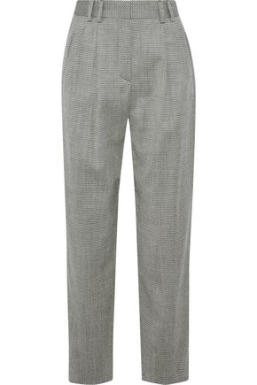 GIORGIO ARMANI Herringbone wool-blend straight-leg pants