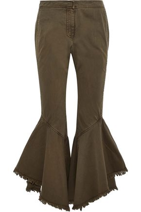 CINQ À SEPT Wysteria frayed cotton-twill kick-flare pants