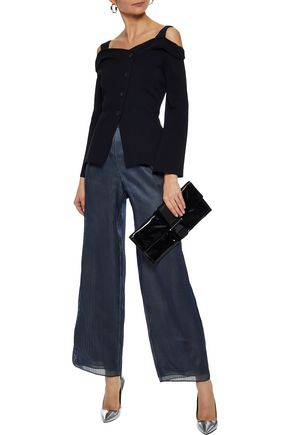 GIORGIO ARMANI Embroidered organza wide-leg pants