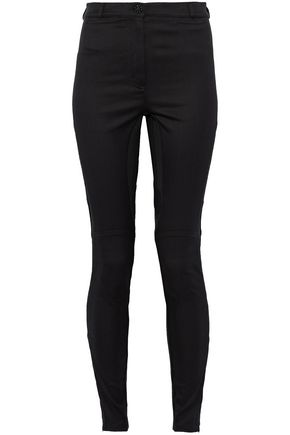 VERSACE Mesh-paneled lace-trimmed cotton-blend twill skinny pants