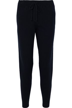 WOMAN INTARSIA CASHMERE TRACK PANTS NAVY