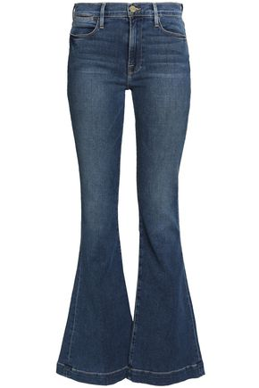FRAME Faded mid-rise flared jeans