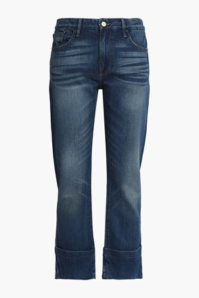 FRAME Cropped faded mid-rise straight-leg jeans