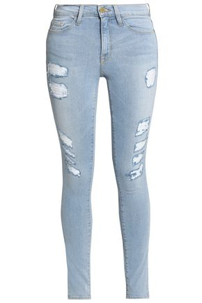 FRAME Le Skinny de Jeanne faded mid-rise skinny jeans