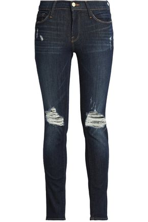 FRAME Cropped distressed low-rise skinny jeans