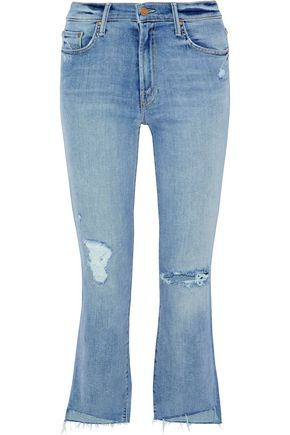 MOTHER Insider Crop distressed high-rise kick-flare jeans