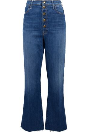 MOTHER Hustler Snap Down frayed high-rise flared jeans