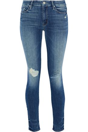 MOTHER Looker embroidered distressed mid-rise skinny jeans