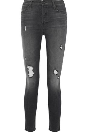 MOTHER Stunner distressed high-rise skinny jeans
