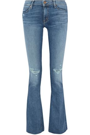 MOTHER Runaway Fray distressed mid-rise flared jeans