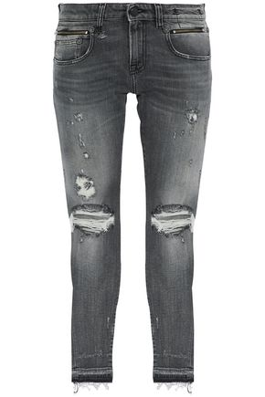 R13 Biker Boy distressed mid-rise slim-leg jeans