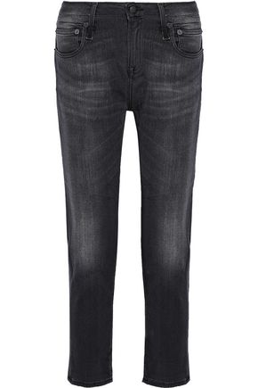 R13 Faded mid-rise slim-leg jeans
