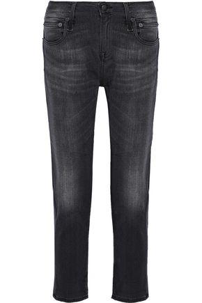 R13 Faded mid-rise slim-leg jeans