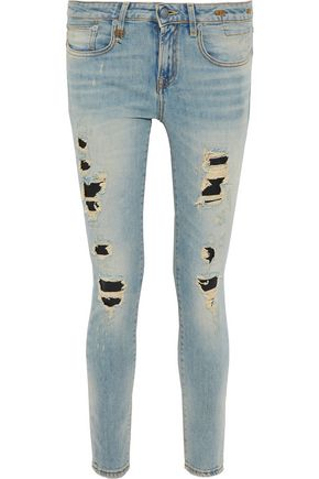 WOMAN ALISON DISTRESSED LOW-RISE SKINNY JEANS LIGHT DENIM