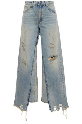 R13 Sashah layered distressed high-rise straight-leg jeans