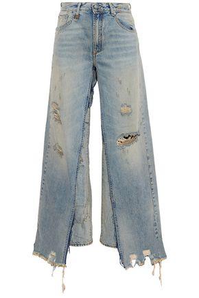 R13 Sashah layered distressed high-rise straight-leg jeans