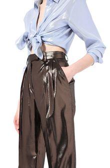 ALBERTA FERRETTI Bronze lamé trousers LAMÉ PANTS Woman a
