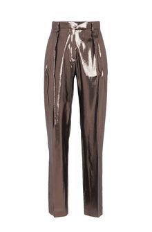 ALBERTA FERRETTI Bronze lamé trousers LAMÉ PANTS Woman e