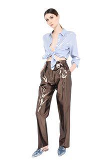ALBERTA FERRETTI Bronze lamé trousers LAMÉ PANTS Woman f