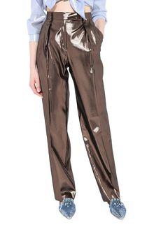 ALBERTA FERRETTI Bronze lamé trousers LAMÉ PANTS Woman r