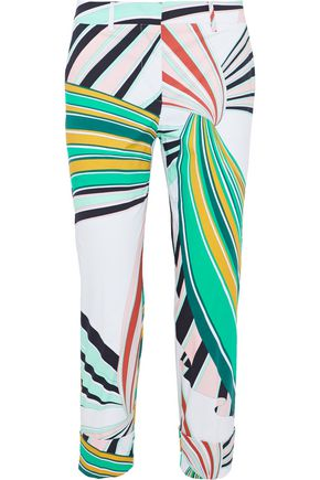 EMILIO PUCCI Cropped printed stretch-cotton poplin skinny pants