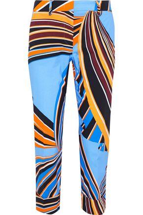 EMILIO PUCCI Cropped printed stretch-cotton poplin skinny pants