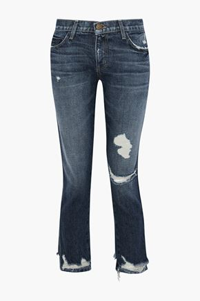 CURRENT/ELLIOTT Distressed mid-rise straight-leg jeans