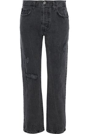 CURRENT/ELLIOTT Distressed mid-rise straight-leg jeans
