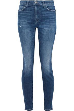 CURRENT/ELLIOTT Distressed high-rise skinny jeans