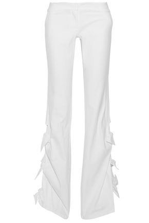 ALEXIS Knotted stretch-cotton flared pants
