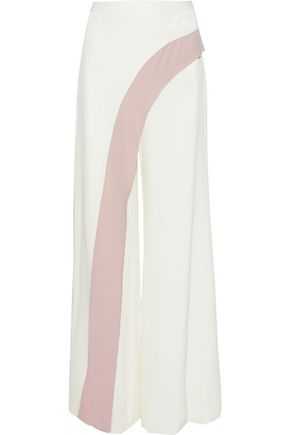 ALEXIS Layered two-tone crepe wide-leg pants