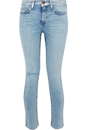 CURRENT/ELLIOTT Distressed metallic coated mid-rise skinny jeans