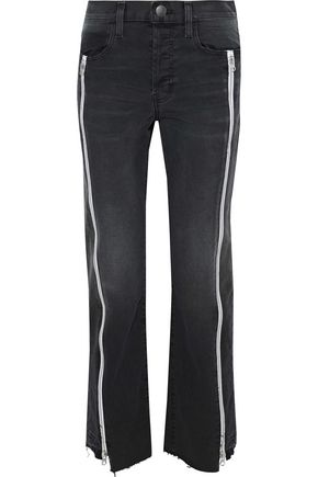 CURRENT/ELLIOTT Zip-detailed distressed straight-leg jeans