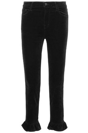 J BRAND Ruby cotton-blend velvet kick-flare pants
