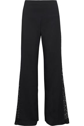 ALICE + OLIVIA Mandy lace-paneled woven flared pants