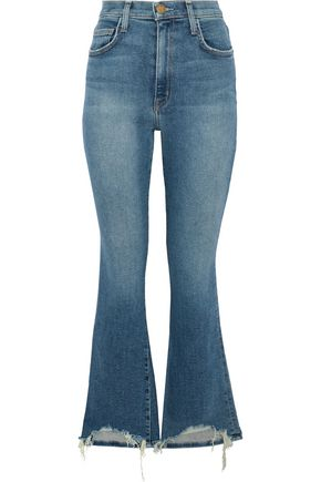 CURRENT/ELLIOTT Distressed high-rise kick-flare jeans